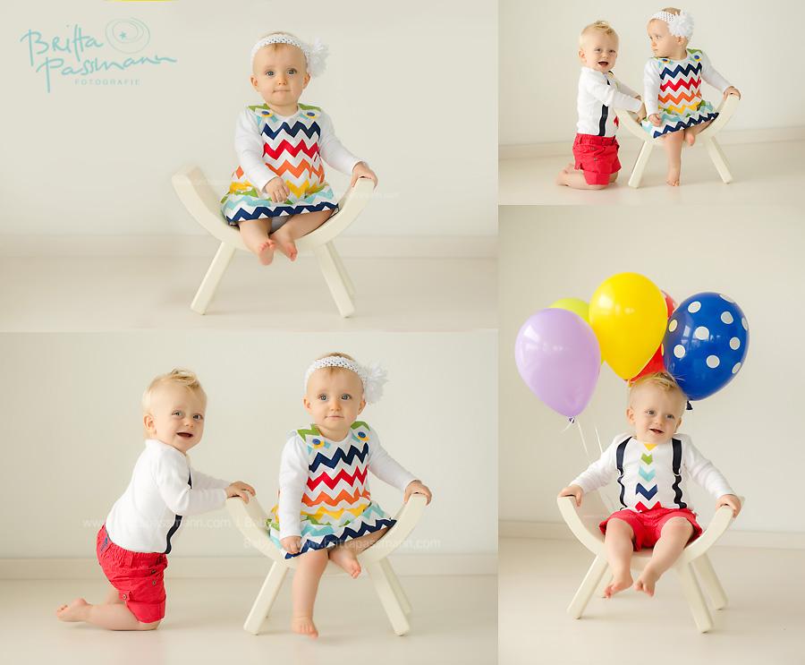 Zwillingsfotos Babyfotos erster geburtstag