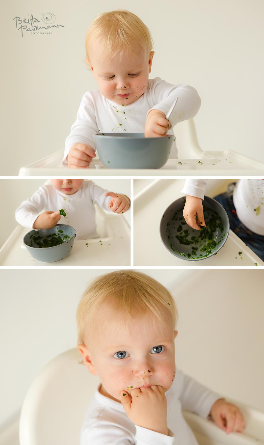 Baby isst Spinat Fotoshooting Babyfotos Dortmund
