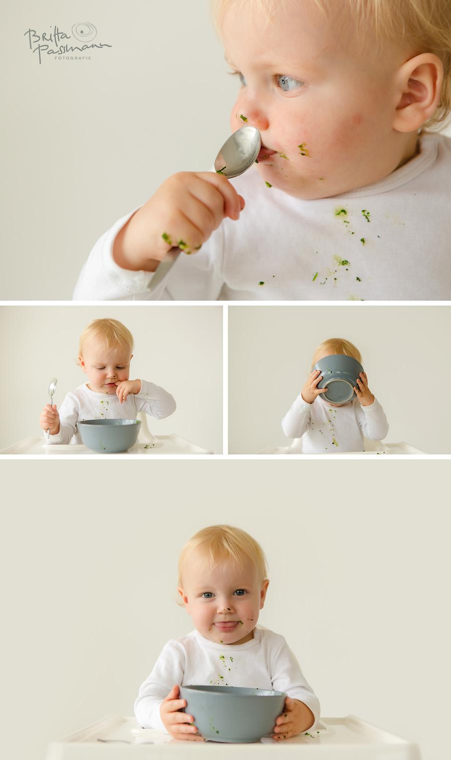 Baby isst alleine Spinat Fotoshooting Dortmund essen alleine essen Fotoshooting