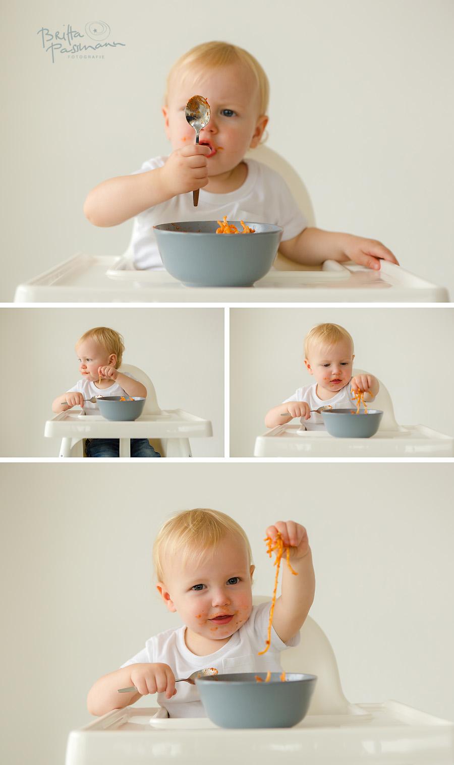 Babyfotos Nudeln Fotoshooting Dortmund essen alleine essen Fotoshooting