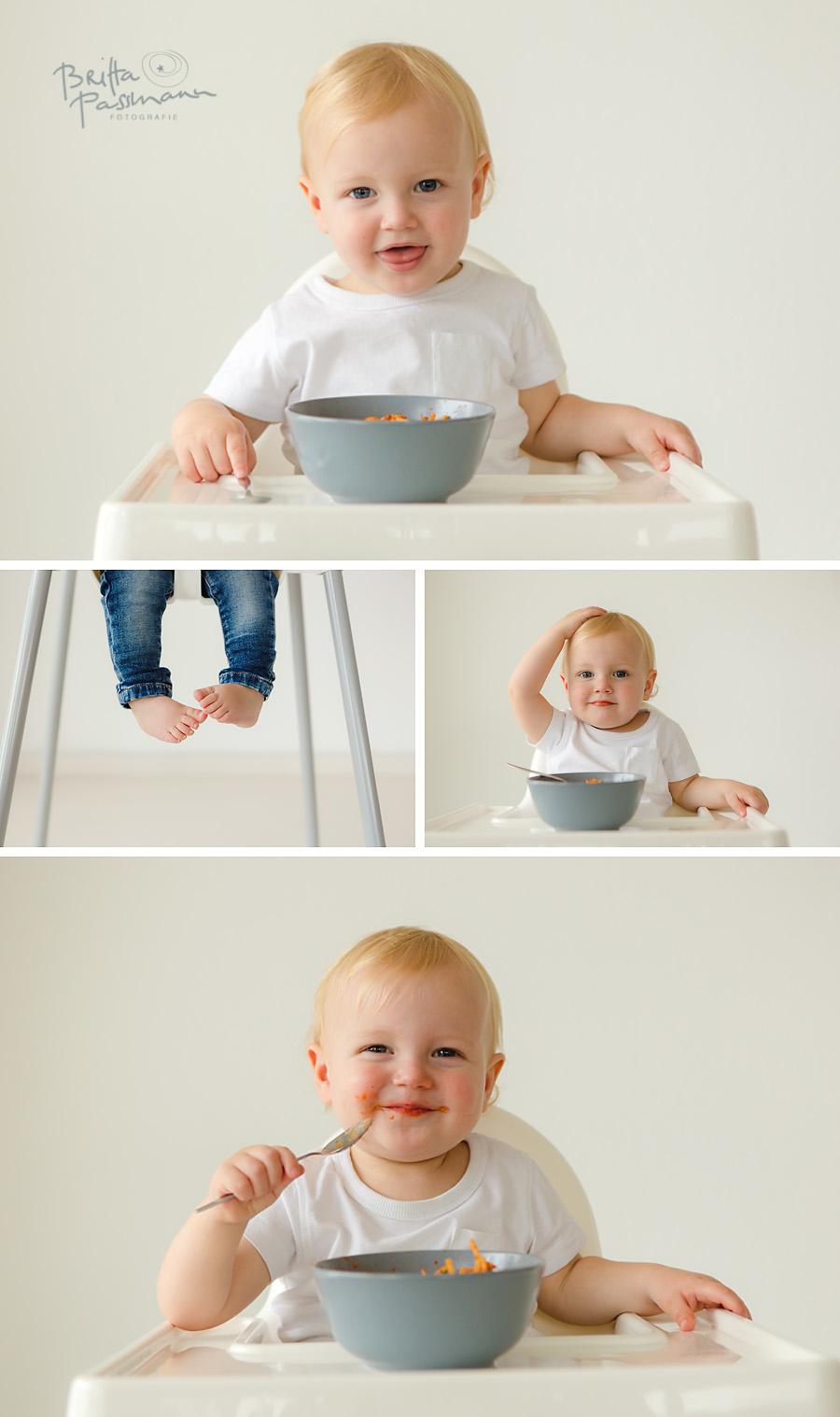 Babyfotos Nudeln essen alleine essen Fotoshooting