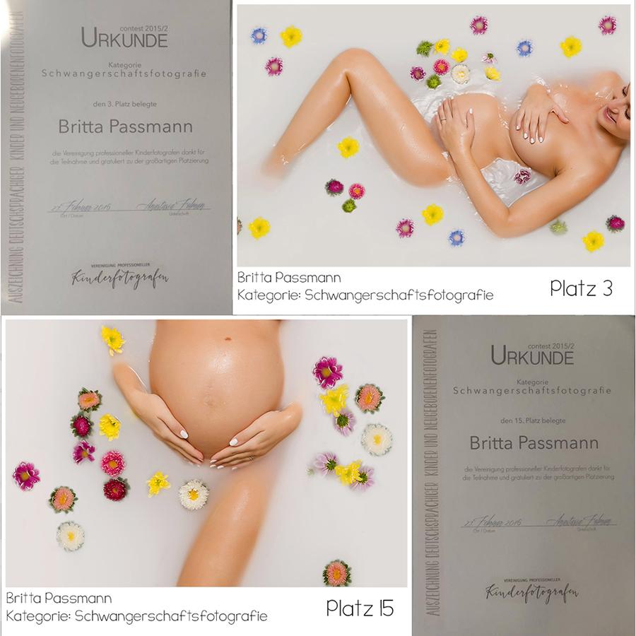 Britta Passmann Urkunde Wettbewerb Kinderfotografen Schwangerschaftsfotoshooting